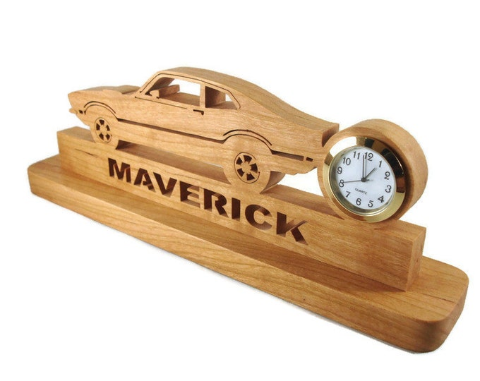 Ford Maverick Desk Clock Handmade From Cherry Wood By KevsKrafts