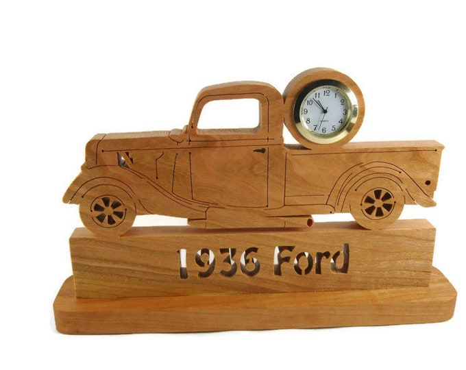 1936 Ford Pickup Truck Desk Or Shelf Clock Cut By Hand Using A Scroll Saw From Cherry Wood By KevsKrafts