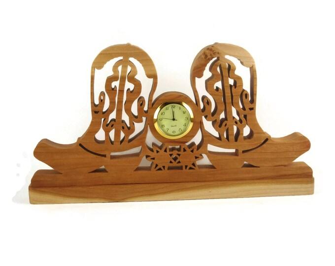 Cowboy Boot Desk Clock Western Time Piece Handmade From Cherry Wood