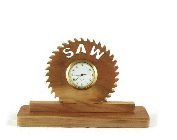 Wooden Saw Blade Desk Clock Handmade From Cherry By KevsKrafts