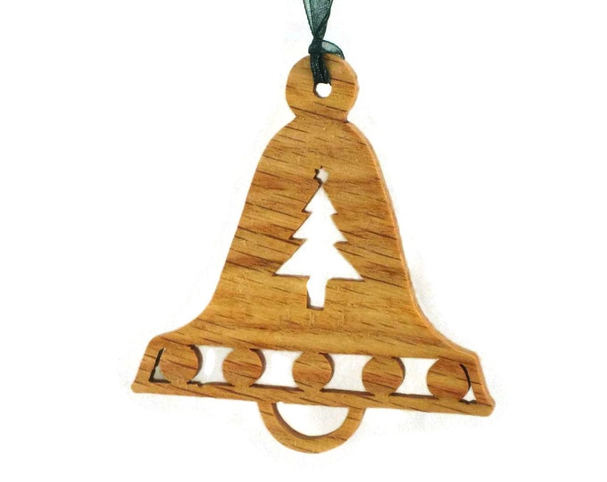 Christmas Bell With Tree Ornament Handmade From Oak Wood