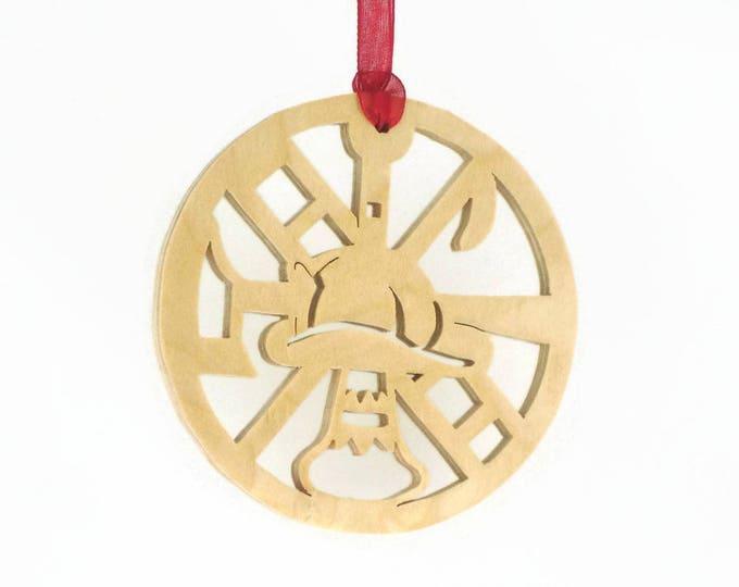 Fireman Christmas Ornament Handmade From Birch Plywood, Fireman Hat, Ladder, Axe,