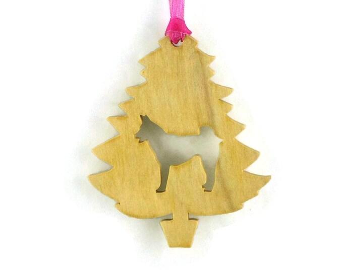 Alaskan Husky Christmas Ornament Handmade From Poplar Wood  Siberian Husky Holiday Decor