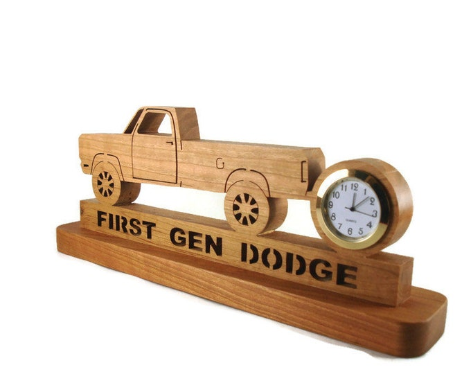 First Gen Dodge Desk Clock Handmade From Cherry Wood By KevsKrafts