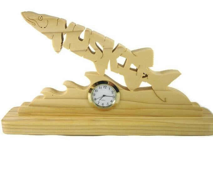 Muskie Fish Desk Or Shelf Clock Handmade From Poplar Wood By KevsKrafts