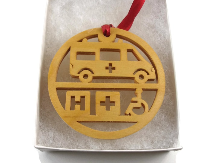 Ambulance or EMT Christmas Ornament Handmade From Birch Wood By KevsKrafts NB-004-4