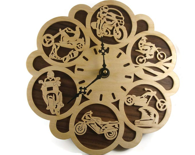 Motorcycle Themed Wall Hanging Clock Handmade From Birch And Walnut Plywood By KevsKrafts