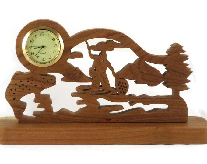 Trout Fishing Scene Desk Clock Handmade From Cherry Wood 1-7/16 Quartz Clock Insert