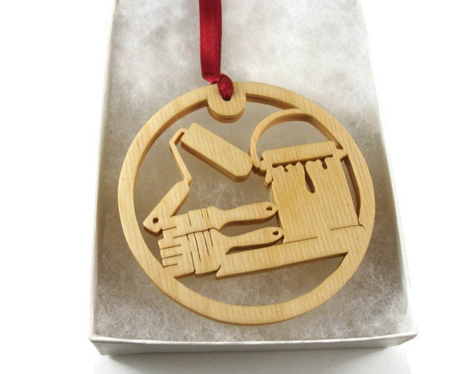 Painter Christmas Ornament With Paint Brush, Roller, And Paint Can Handmade From Birch Wood By KevsKrafts BN-002-4