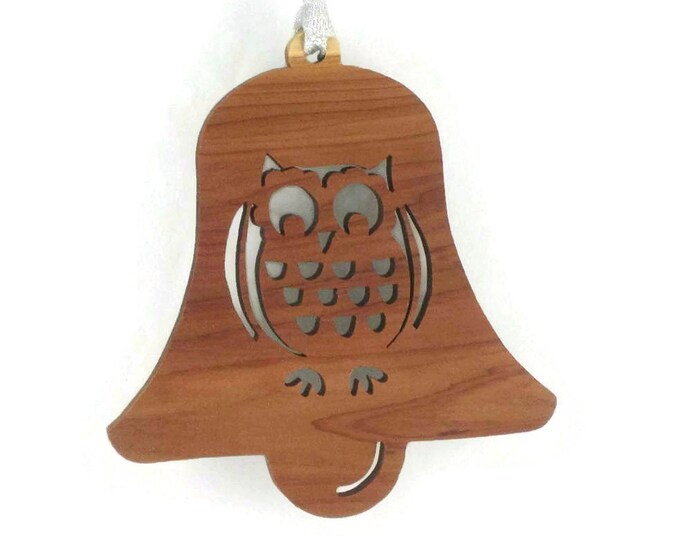 Owl Christmas Ornament Bell Shaped Handcrafted from Cedar Wood