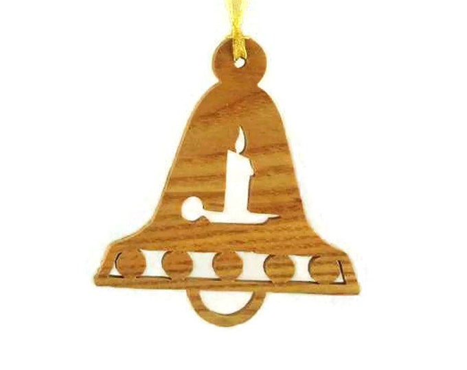 Bell With Burning Candle Christmas Ornament Handmade from Ash Wood