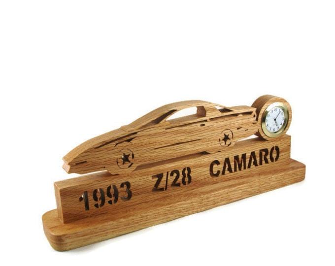 1993 Z28 Camaro Desk Or Shelf Clock Handmade From Oak Wood By KevsKrafts