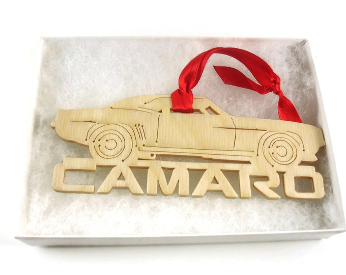Classic Chevy Camaro Muscle Car Christmas Ornament Handmade From Birch Wood By KevsKrafts BN-7