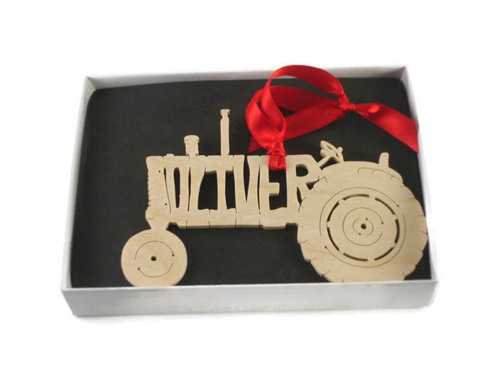 Oliver 770 Farm Tractor Wood Christmas Ornament Handmade By KevsKrafts
