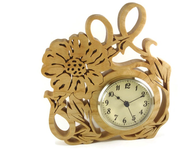 Wood Flower / Floral Wall Hanging Clock Handmade From Ash Wood By KevsKrafts