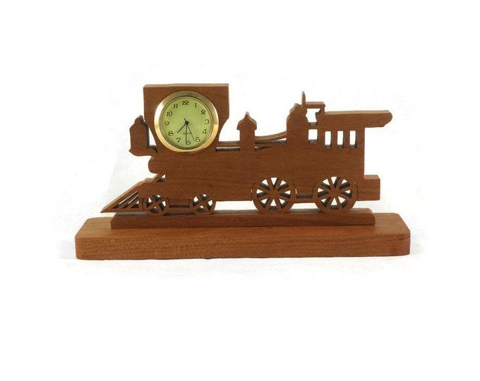 Train Locomotive Desk Clock Handmade From Cherry Wood NFB-1