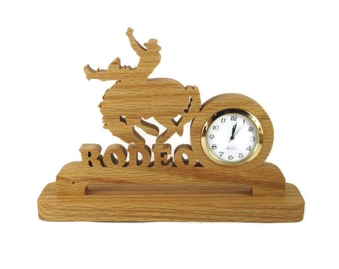 Rodeo Bucking Bronco Desk Or Shelf Clock Handmade From Oak Wood By KevsKrafts