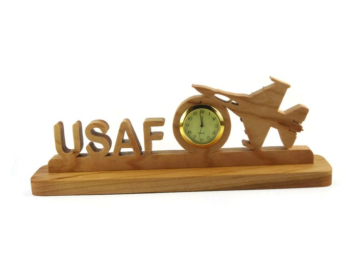 United States Air Force USAF Military Desk Or Shelf Clock Handmade From Cherry Wood By KevsKrafts BN-4