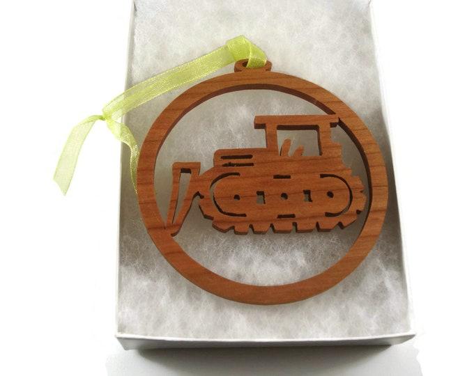 Bulldozer Excavator Christmas Ornament Handmade From Cherry Wood By KevsKrafts BN-5-M2