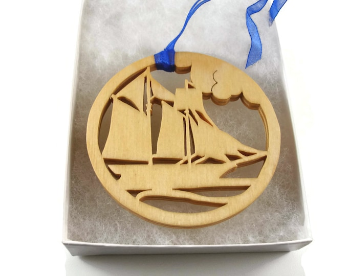 Sailboat Scene Christmas Ornament Handmade From Birch Wood By KevsKrafts BN-002-3