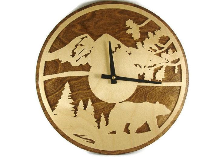 Bear Scene Wall Clock Handmade From Birch Wood By KevsKrafts