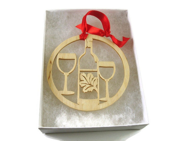 Wine Glasses And Bottle Of Wine Christmas Ornament Handmade From Birch Wood By KevsKrafts BN-15