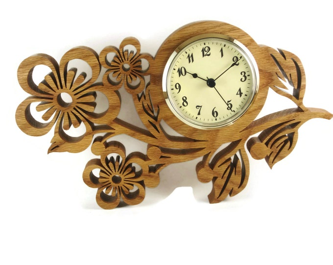 Wood Pansy Flower Wall Hanging Clock Handmade From Oak Wood By KevsKrafts