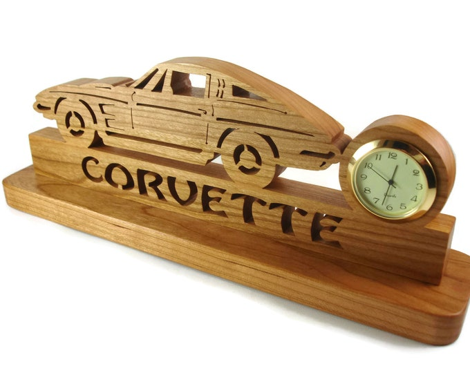 1963 - 67 Corvette Desk Or Shelf Quartz Clock Handmade From Cherry Wood By KevsKrafts