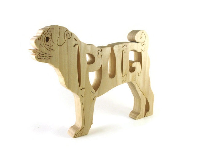 Pug Wooden Puzzle Handmade From Poplar Lumber By KevsKrafts