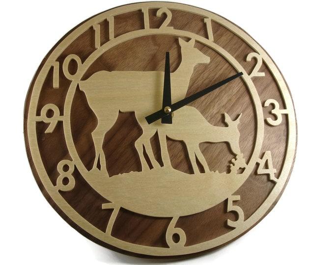 Deer Grazing Scene Wood Wall Hanging Clock Handmade From Birch And Walnut Wood By KevsKrafts