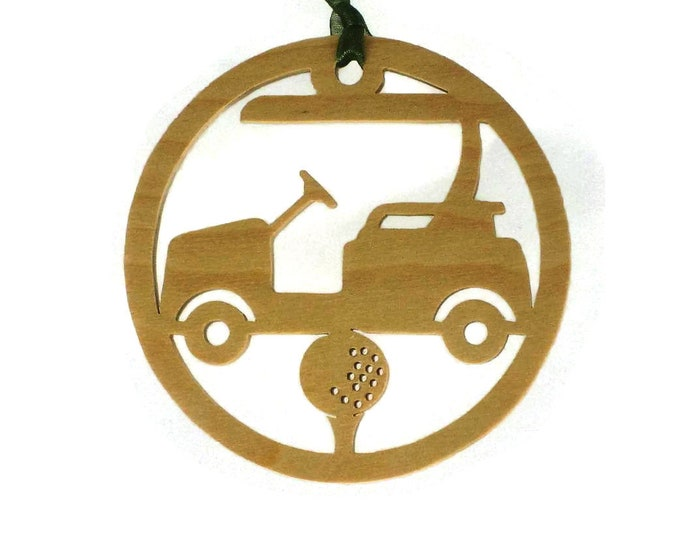 Golf Cart With Golfing Tee And Golf Ball Christmas Ornament Handmade From Birch Wood BN-15LB