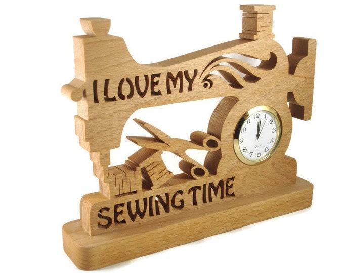 Sewing Machine Desk Quartz Clock Handmade from Beech Wood By KevsKrafts