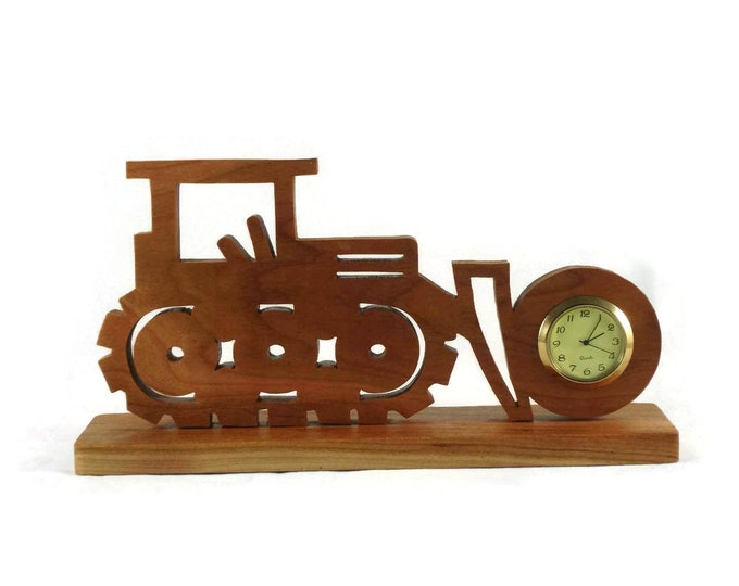Bulldozer Mini Desk / Shelf Clock Handmade From Cherry Wood, Excavating Clock