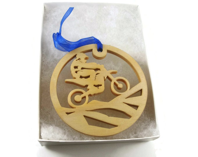 Motocross Dirtbike Motorcycle Christmas Ornament Handmade From Birch Wood By KevsKrafts BN-04