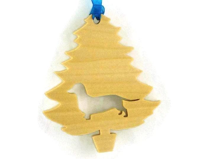 Dachshund Christmas Ornament Handmade From Poplar Wood, Doxie, Dachshund Decor,  Wiener Dog,  Dackel Ornament , Teckel Ornament