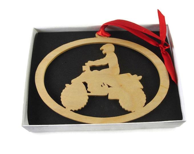 Quad / 4 Wheeler ORV Christmas Ornament Handmade From Birch Wood By KevsKrafts BN-13LB