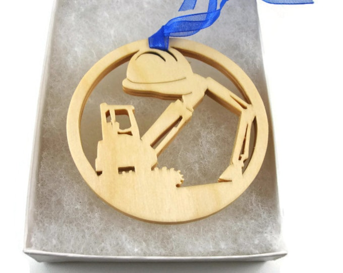Heavy Equipment Crane Operator Christmas Ornament Handmade From Birch Wood By KevsKrafts BN-002-2