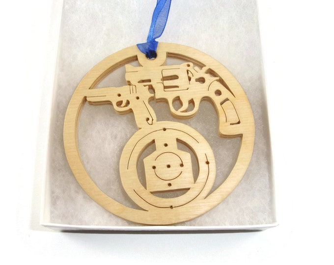 Shooting Range 9mm and Revolver Christmas Ornament Handmade From Birch Wood By KevsKrafts BN-001-4