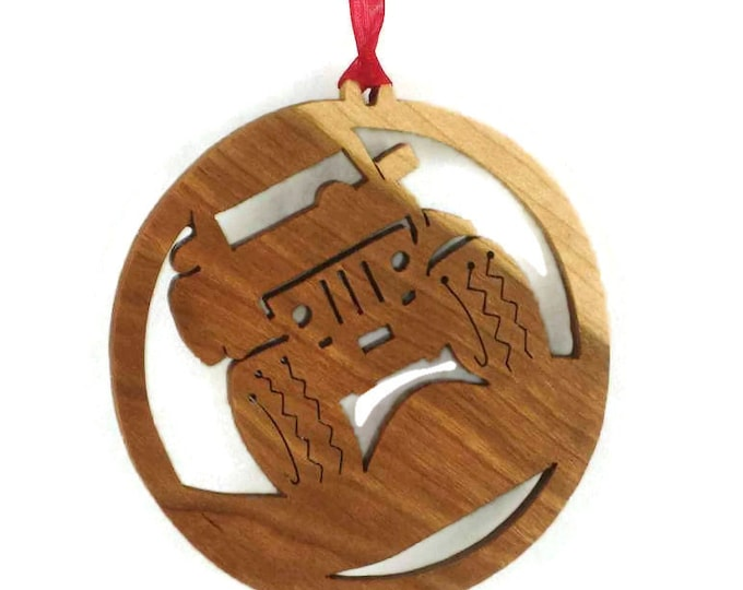 Jeep 4x4 Off Road Christmas Ornament Handmade From Cherry Wood, BN-5-04, Four Wheelin, Hill Climbing, Rock Crawling, Mud Bogging