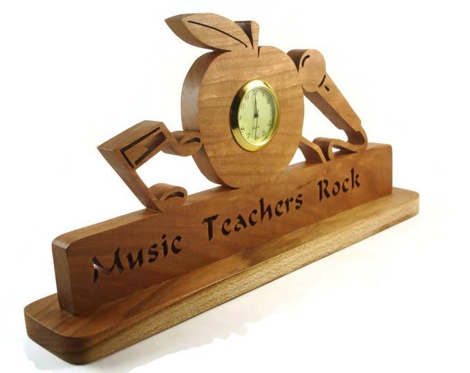 Music Teachers Rock Desk Or Shelf Clock Handmade From Cherry Wood By KevsKrafts