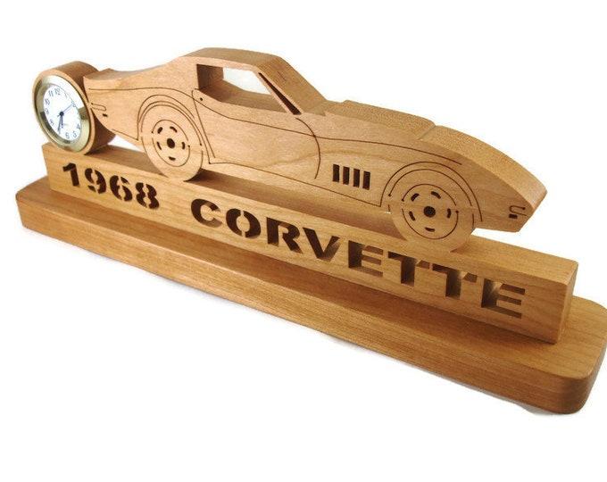 1968 Corvette Desk Clock Handmade From Cherry Wood