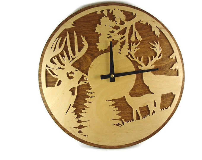 White Tail Buck Scene Wall Hang Clock Handmade From Birch Wood By KevsKrafts