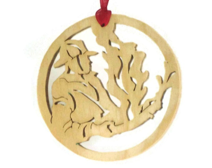 Fireman Christmas Ornament Handmade From Birch Plywood, Putting Out The Fire, BN-9