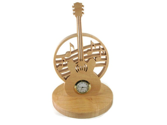 Guitar Music Desk Or Shelf Clock Handmade From Maple Wood By KevsKrafts