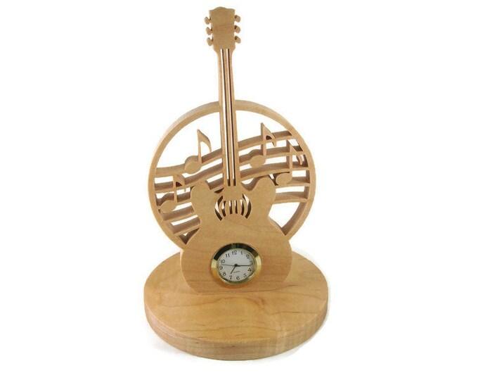 Guitar Music Desk Or Shelf Clock Handmade From Maple Wood By KevsKrafts