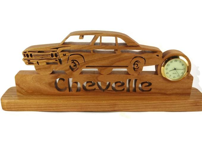 1967 Chevelle Malibu Desk Or Shelf Art With A Quartz Clock, Cut By Hand From Cherry Wood By KevsKrafts NFB-1