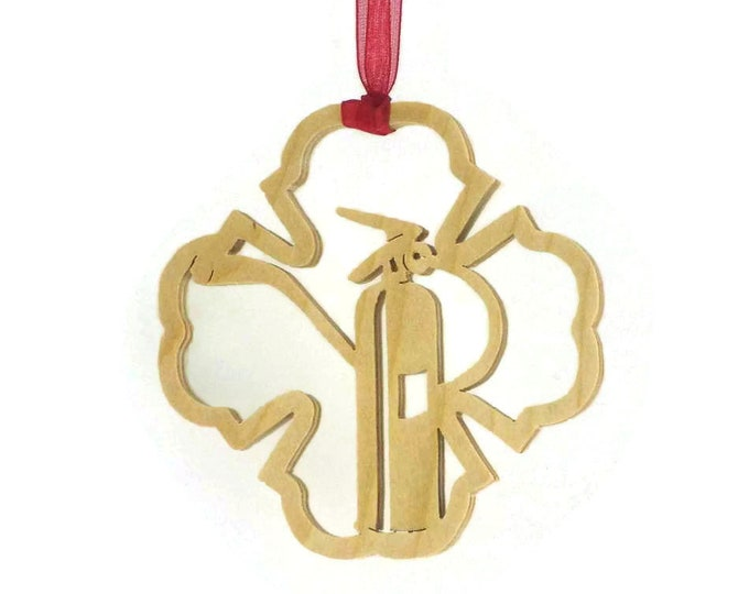 Fire Extinguisher Inside a Firefighter Symbol Christmas Ornament Handmade From Birch Wood BN-14LB