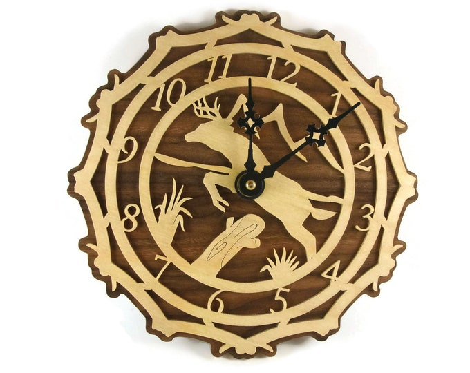 Deer Scene Wall Hanging Clock Handmade From Birch and Walnut Wood By KevsKrafts