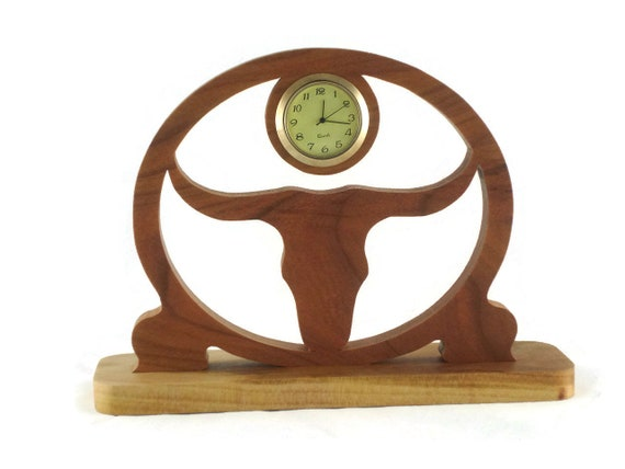 Texas Longhorn Desk Clock Handmade From Cherry Wood BN-4