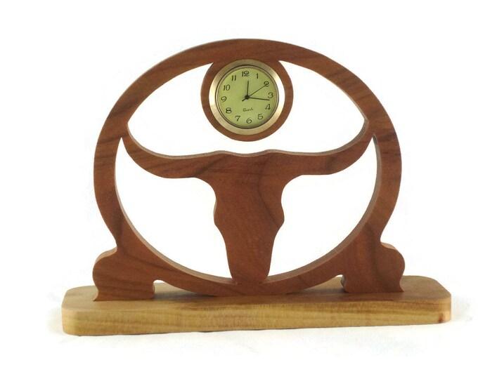 Texas Longhorn Desk Clock Handmade From Cherry Wood BN-4